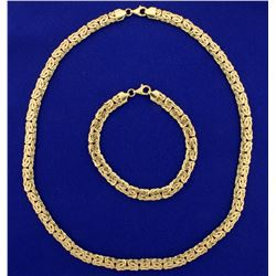 Byzantine Link Necklace and Bracelet Set in 14k Gold