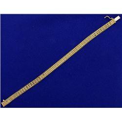 7 1/4 Inch Woven Link Beaded Edge Bracelet