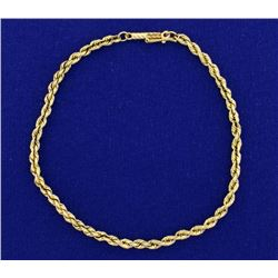 8 Inch Rope Link Bracelet in 14k Gold