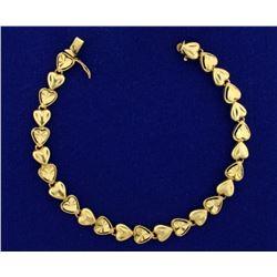7 Inch Heart Link Bracelet in 14k Gold