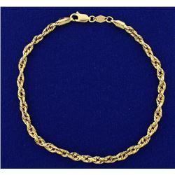 8 3/4 Inch Rope Link Bracelet or Anklet in 14k Gold