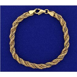 Rope and Box Link Bracelet in Rose, White, and Yellow 14k Gold