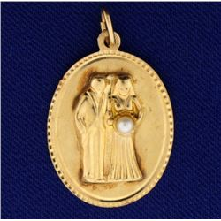 Bride and Groom Marriage Pendant with Pearl