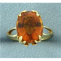 Vintage 5 ct Oval Citrine Leaf Prong Ring