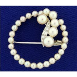 Cultured Pearl and Diamond Circle Pin