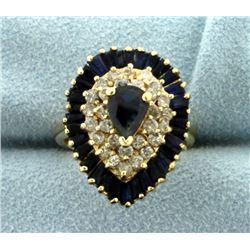 2 1/4ct TW Sapphire and Diamond Ballerina Ring
