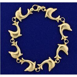 8 Inch Dolphin Link Bracelet in 14k Gold