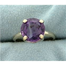 4ct Natural Amethyst Ring in 14k White Gold