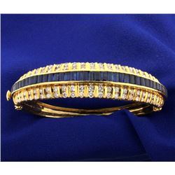 18k Natural Sapphire and Diamond Bangle Bracelet