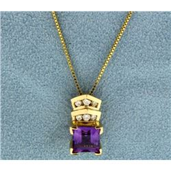 Amethyst and Diamond Pendant with Chain