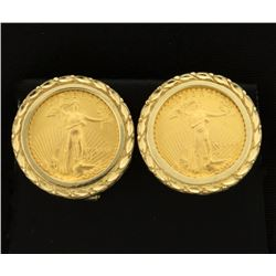 1/10oz Gold American Eagle Coin Earrings