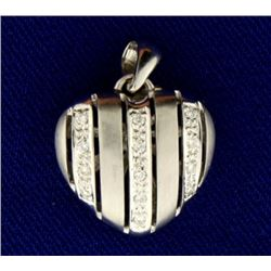 Diamond Striped Heart Pendant