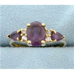 Natural Amethyst and Diamond Ring
