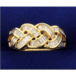 1 1/2ct TW Woven Style Baguette Diamond Band Ring