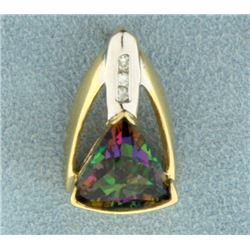 Mystic Topaz and Diamond Pendant