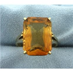 14ct Emerald Cut Citrine Ring