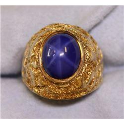 Heavy Men's Star Sapphire Ring