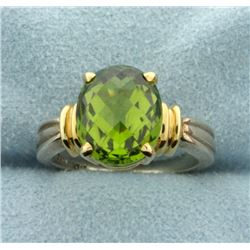 4ct Checkerboard Cut Peridot Ring