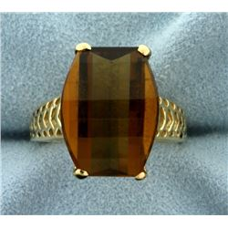 Checker Board Cut Smokey Quartz Ring