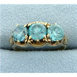 Antique 3 Stone Blue Topaz Ring