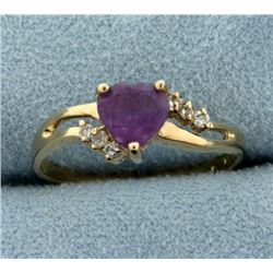 Heart Amethyst and Diamond Ring