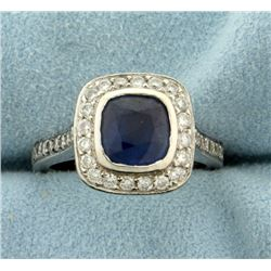 Natural Sapphire and Diamond Ring