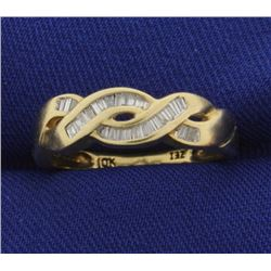 1/3ct TW Woven Design Baguette Diamond Band Ring