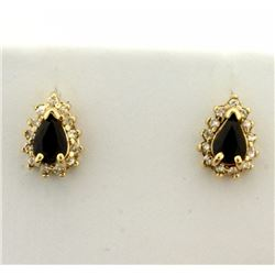 Natural Sapphire and Diamond Earrings