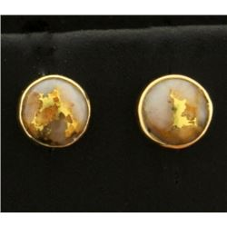 Gold Veined Quartz Stud Earrings in 14k Gold