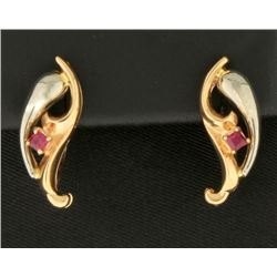 Ruby Designer Earrings in 14k Gold