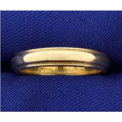 Beaded Edge Wedding Band Ring in 14k Gold
