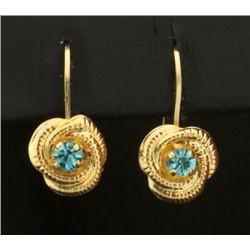 Unique Blue Topaz Drop Earrings in 14k Gold