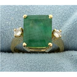 4ct Natural Emerald and Diamond Ring
