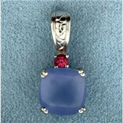 Tanzanite, Pink Topaz, and Diamond Pendant