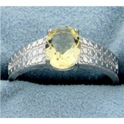 Classic 1.5ct Oval Citrine Ring with Diamonds