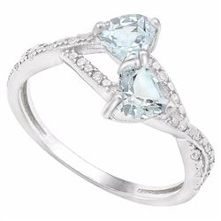 Aquamarine 2 Stone Friendship Ring in Sterling Silver