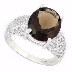 Huge Smoky Topaz Ring with Diamond Accent in Sterling Silver