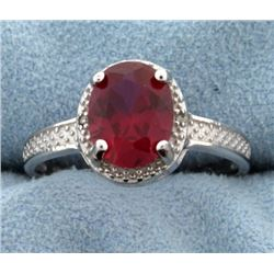 Lab Ruby Oval Cut 7x9MM and Diamond Ring Vintage Style in Sterling Silver