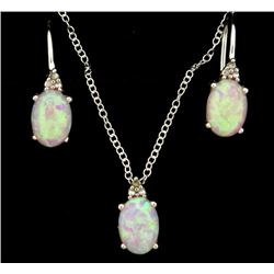 Pink Lab Opal Earring and Pendant Set with Diamonds in Sterling Silver