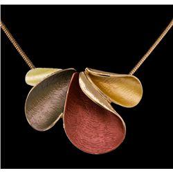 Petal Design Pendant Chain Necklace - Rose Gold Plated