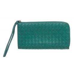 Bottega Veneta Green Woven Leather Zip Long Wallet