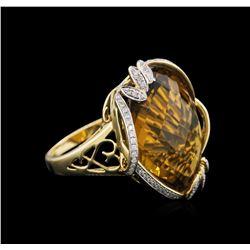 18KT Yellow Gold 28.10 ctw Champagne Quartz and Diamond Ring