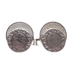 Bvlgari Silver 925 Logo Cufflinks