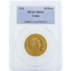1916 Cuba 10 Pesos Gold Coin PCGS MS61