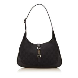Gucci Black Canvas Leather GG Logo Jackie Shoulder Bag