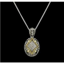 0.25 ctw Diamond Pendant and Chain - Silver/18KT Yellow Gold