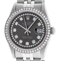 Rolex Mens Stainless Steel Dark Rhodium String Diamond Datejust Wristwatch