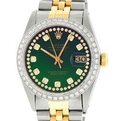Rolex Mens Two Tone Green String Diamond Datejust Wristwatch