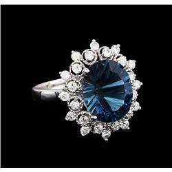 4.00 ctw Blue Topaz and Diamond Ring - 14KT White Gold