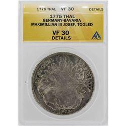 1775 Germany-Bavaria Maximillian III Coin ANACS VF30 Details
